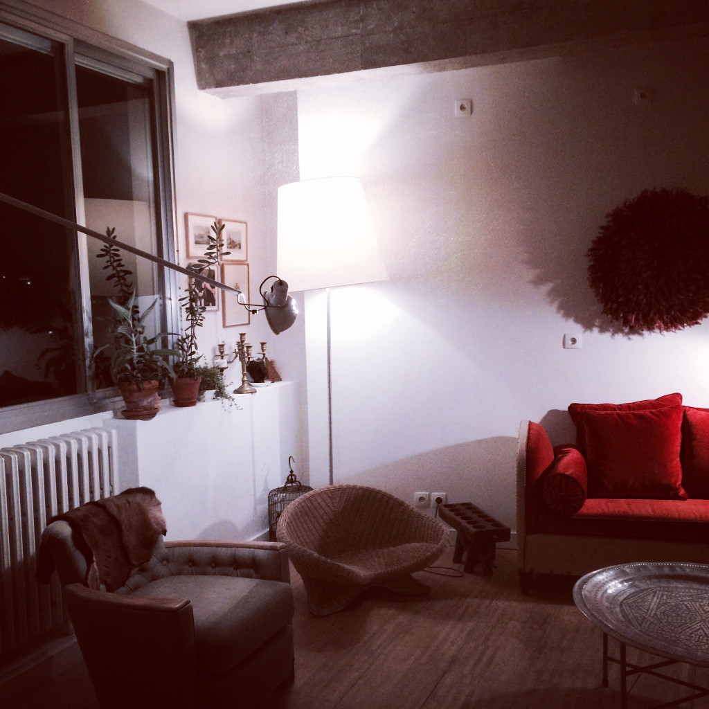 Airbnb emily henson red sofa