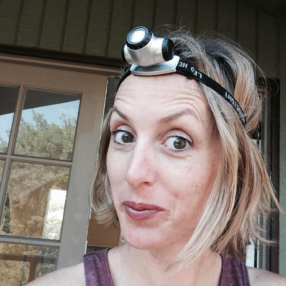 Emily Henson in headlamp for Life Unstyled