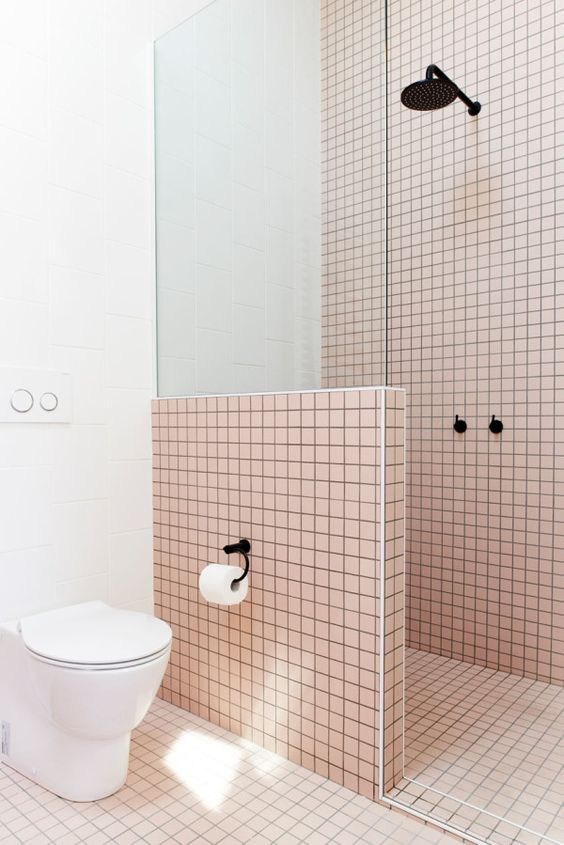 Life Unstyled pink tiled bathroom