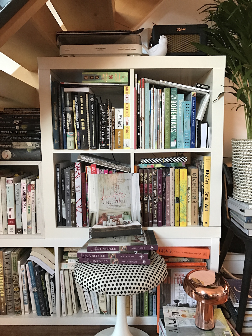 Life Unstyled messy bookshelves